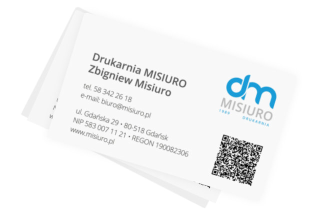Przykładowy druk akcydensowy - wizytówka firmy Drukarnia Misiuro