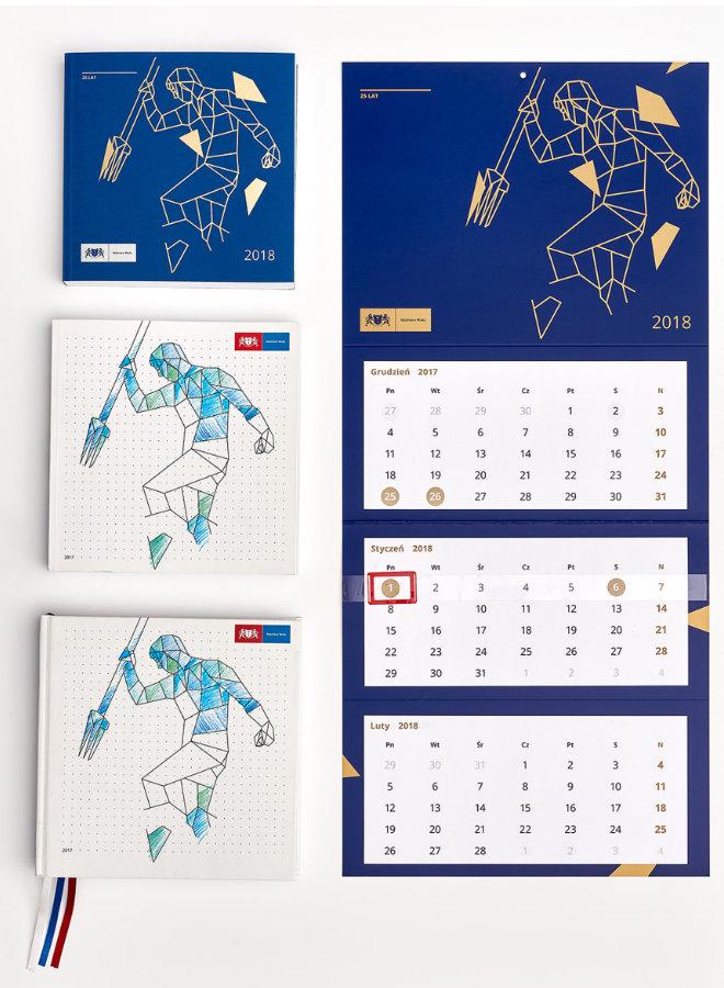 Przykładowe kalendarze wydrukowane w Gdańsku w Drukarni Misiuro
